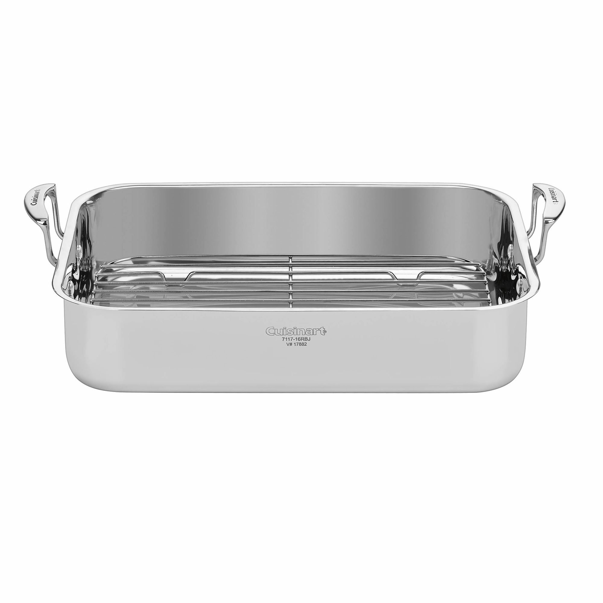 Cuisinart 16'' Stainless Steel Roaster with Rack - Riveted Stainless Steel Handles