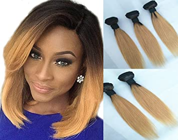 XMH Ombre Human Hair Extensions 12inch Hair Bundle Two Tone Brazilian  Straight Short Hair Weave 3 33a8a9b35