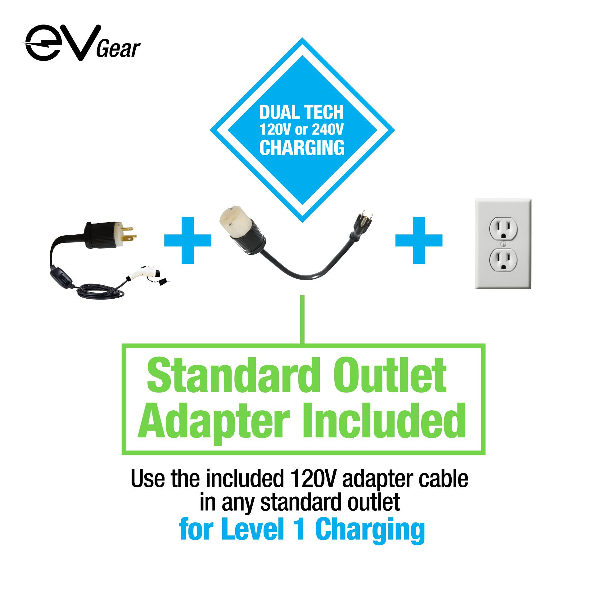 Level 2 EV Charger by EV Gear | 30 ft Portable Plug-In Charger, 110v - 240v | Includes Level 1 Adapter | Works with all Electric & Hybrid Cars such as Chevy Volt/Bolt, Nissan Leaf, Prius Prime, Tesla by EV Gear (Image #5)