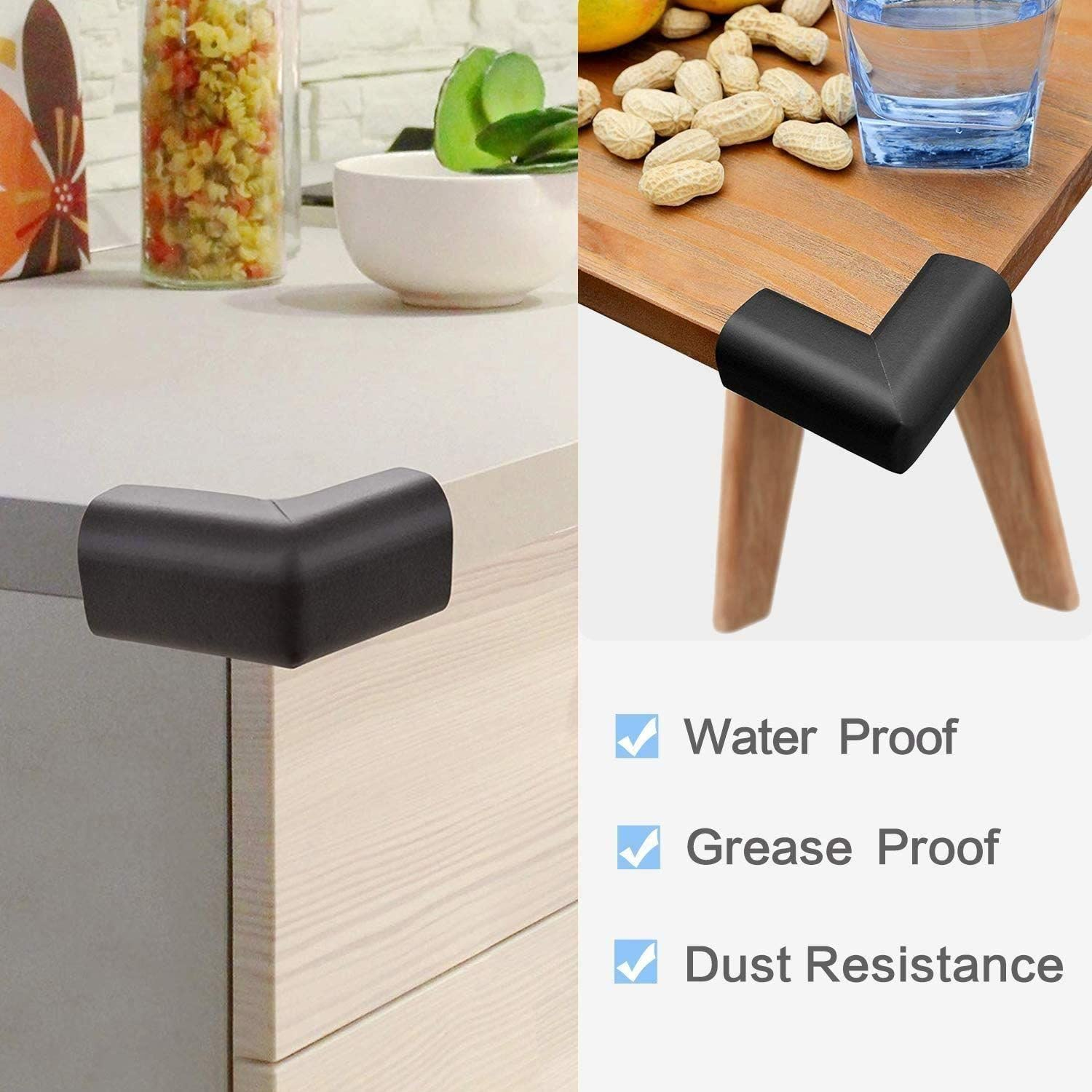 Corners /& Edge Set - Black Baby Proofing Safety Corner Guards and Protective Edge Strip