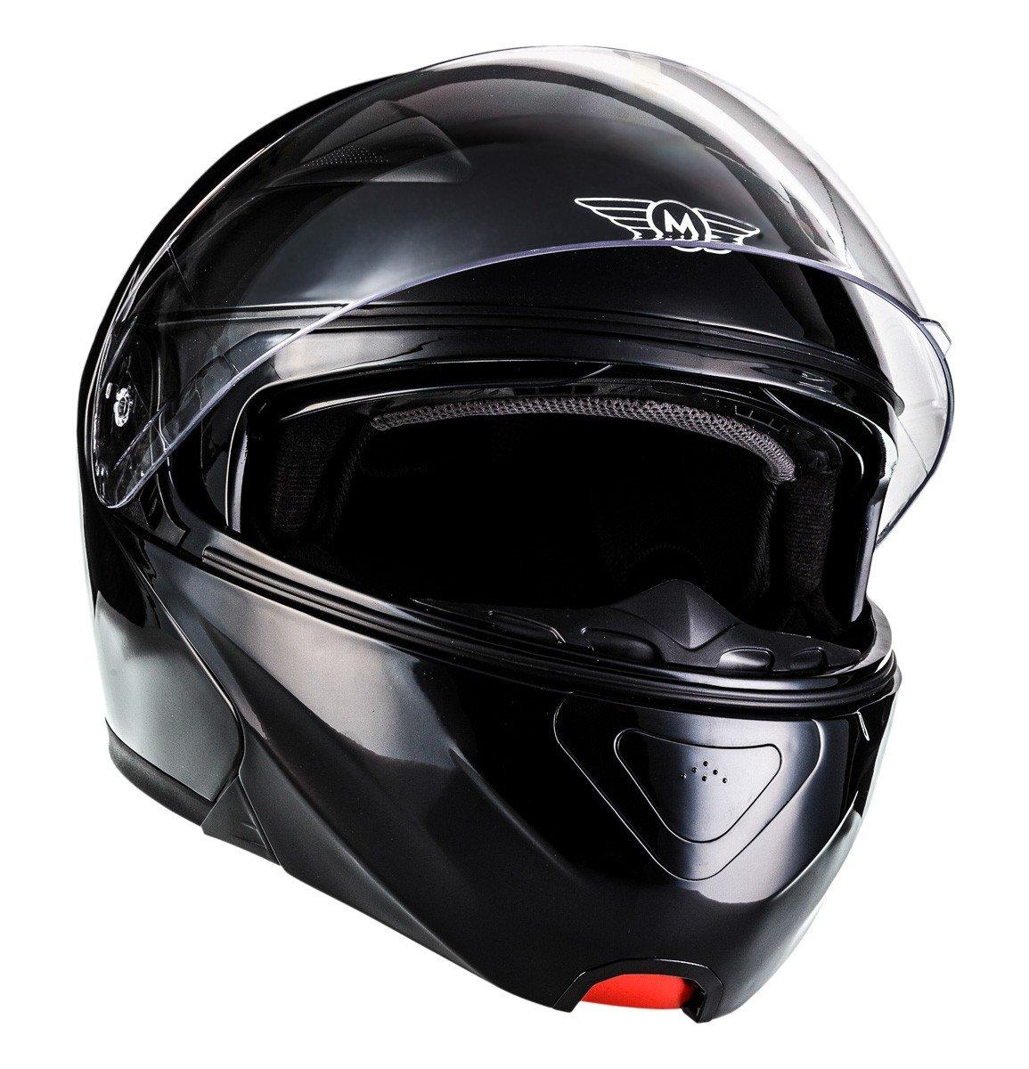 MOTO F19 Matt White · Cruiser Integral-Helm Sturz-Helm Scooter-Helm Modular-Helm Flip-Up-Helm Helmet Klapp-Helm Motorrad-Helm Roller-Helm · ECE zertifiziert · zwei Visiere · inkl. Stofftragetasche · Weiß · M