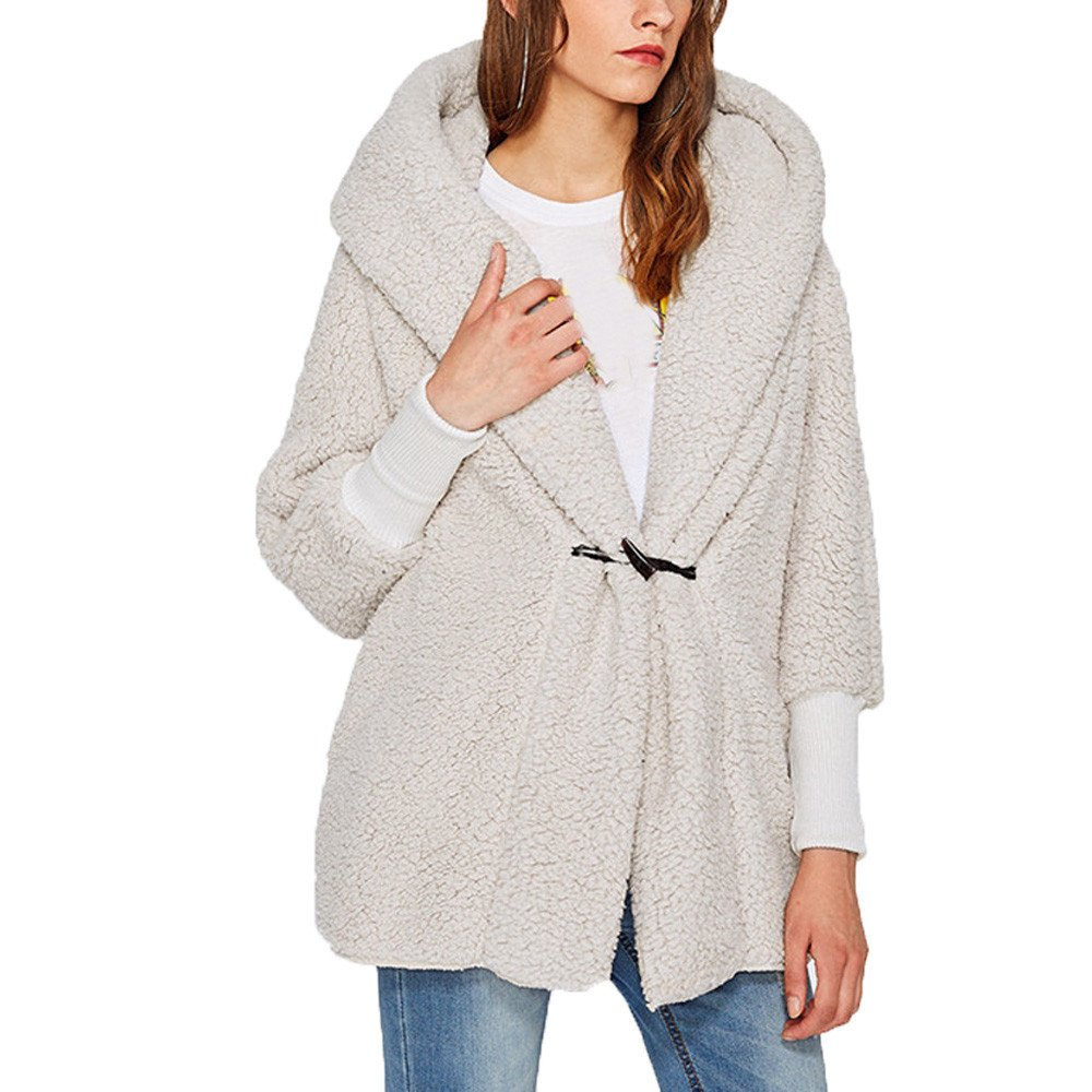 Oliviavan Blouse, Womens Long Sleeve Hooded High Cuffs Long Coat Lightweight Plush Jacket