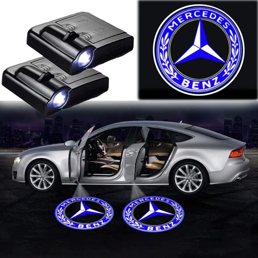 4 PCS Car Door Logo Lights Projector LED 3D Shadow Ghost Light Compatible with Mercedes-Benz A//C//E//ML//GL//GLE//GLS//GLA//M Symbol Emblem Courtesy Step Lights Kit Replacement
