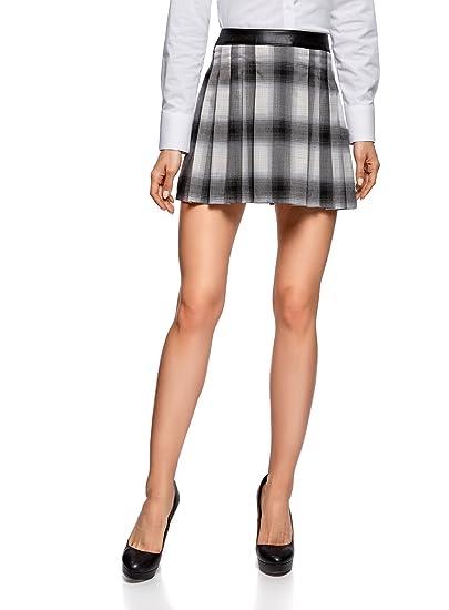 oodji Ultra Mujer Falda Corta con Pliegues, Gris, ES 38 / S ...