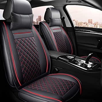 RED CAR SEAT COVERS VOLKSWAGEN UP LINERS TWO-COLOURED BLACK