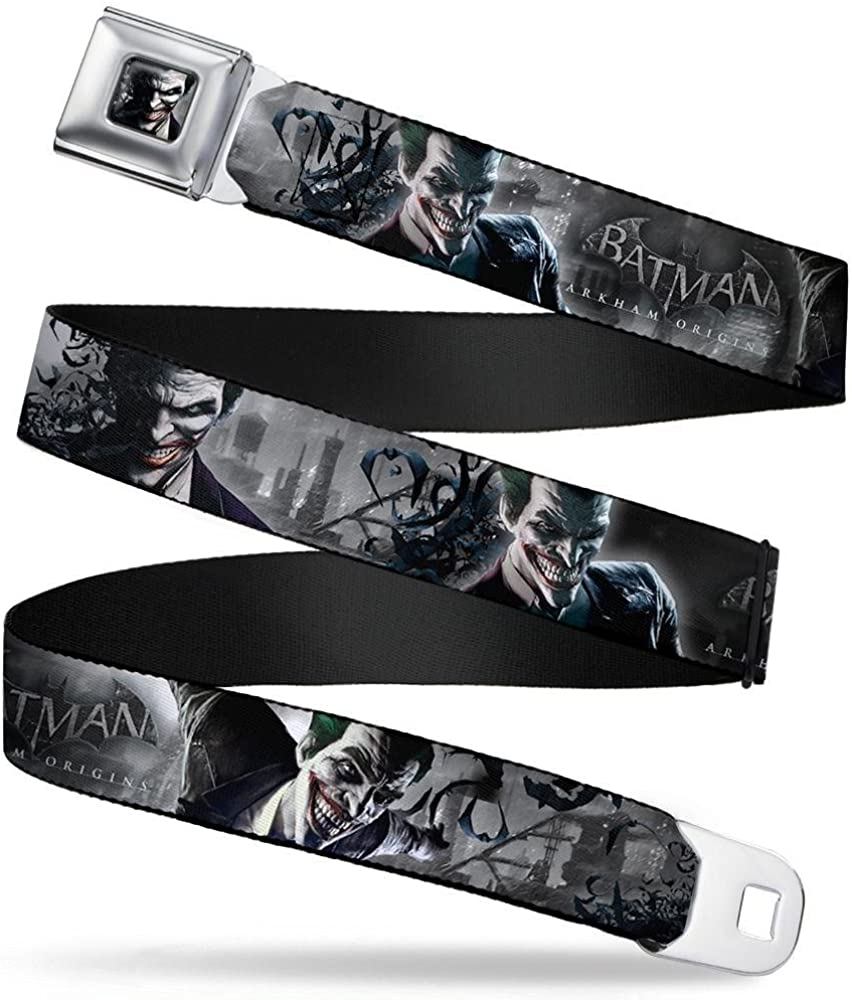 1.5 Wide BATMAN ARKHAM ORIGINS Joker Expressions//Bats Grays 24-38 Inches in Length Buckle-Down Seatbelt Belt