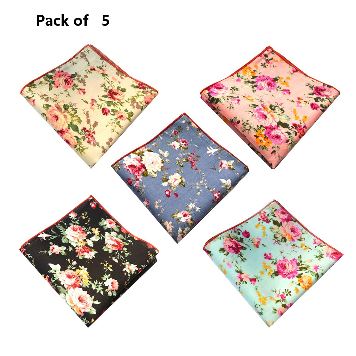 5-Pk of Floral Cotton Pocket Square Set