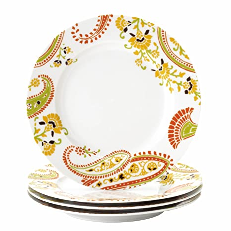 Rachael Ray Dinnerware Paisley 4-Piece Porcelain Salad Plate Set  sc 1 st  Amazon.com & Amazon.com | Rachael Ray Dinnerware Paisley 4-Piece Porcelain Salad ...