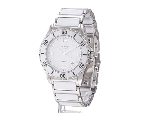Amazon.com: Viceroy Womens 47548-05 Ceramic & Sapphire Luminous White Ceramic And Stainless Steel Bracelet Date Watch: Watches