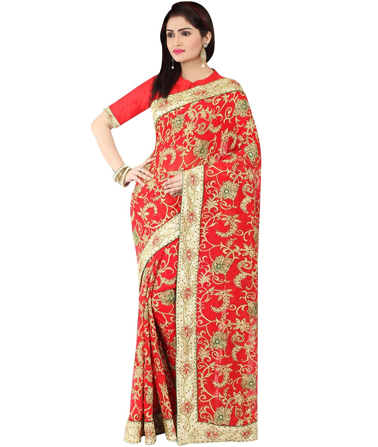 Indian Ethnic Faux Georgette Red Bridal & Wedding Saree