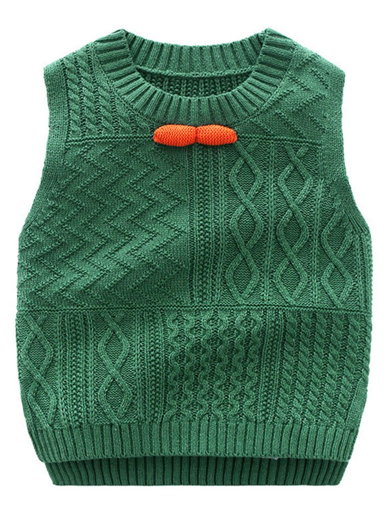 Abolai Unisex Baby Boys Girls Knit Sweater Vest Pullover Waistcoat Green 110