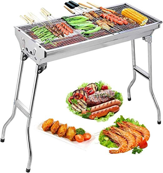 Vklet Portable Stainless Steel Charcoal Barbecue Grill with Cooler Bag for Men in Aluminum Case