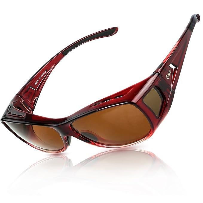 DUCO Gafas Polarizadas para usar con Anteojos Debajo 8953 Tamaño Común Color Rojo Vino