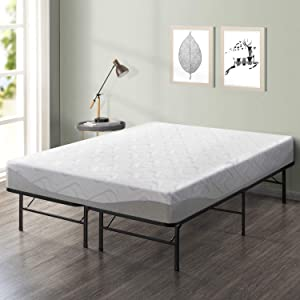 "Best Price Mattress 9"" Gel-Infused Memory Foam Mattress & 14"" Premium Metal Bed Frame Set, King"