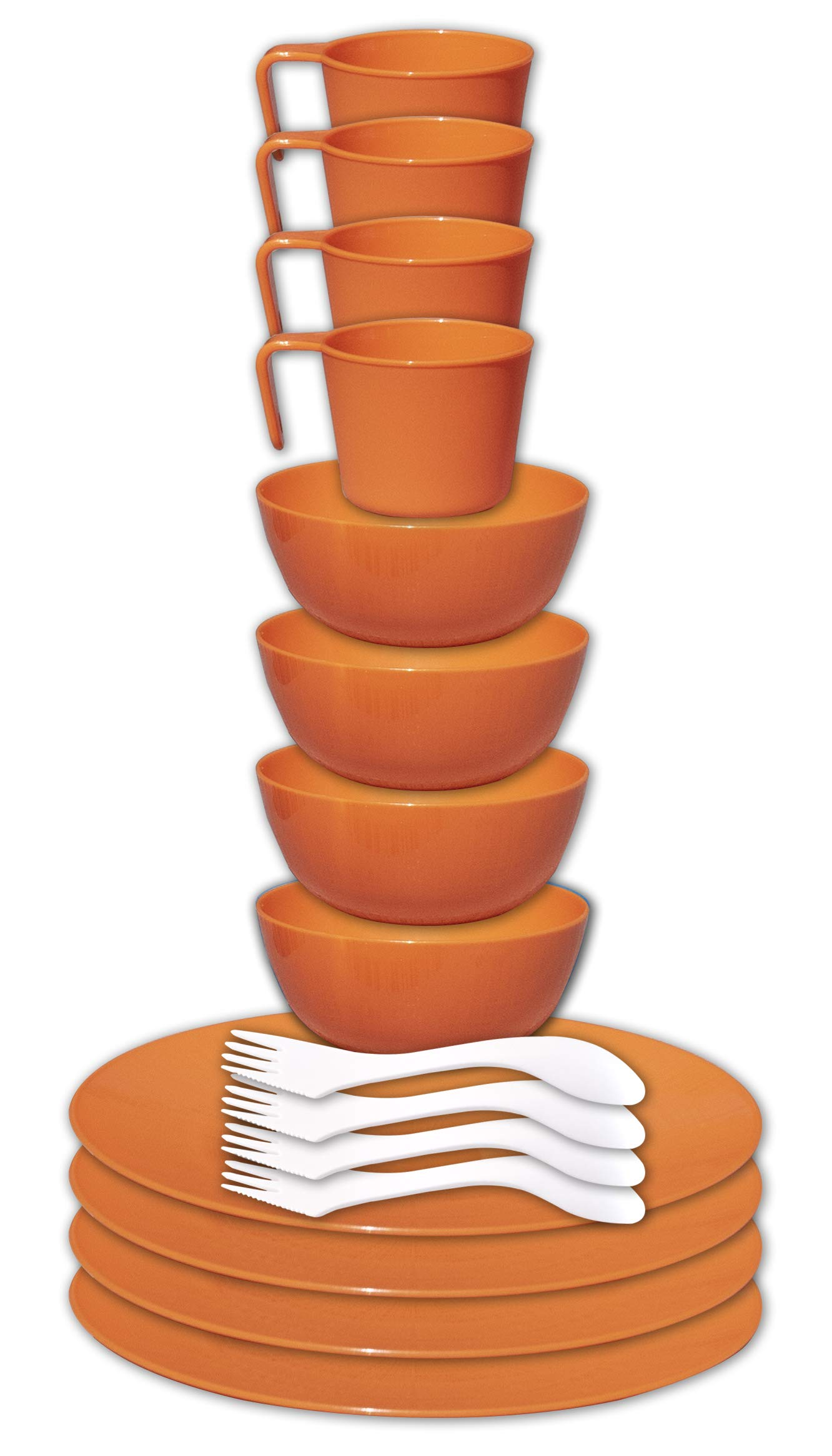 gear4U Camping Tableware Sets - Outdoor Dishes with Mesh Carry Bag - BPA Free - Plate, Bowl, Cup and Utensil for Hiking, Camping, Backpacking, Travel and Outdoor Survival - Orange 4 Person Set by gear4U