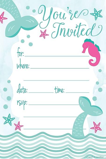 6 Mermaid Party Invitations /& Enveloppes