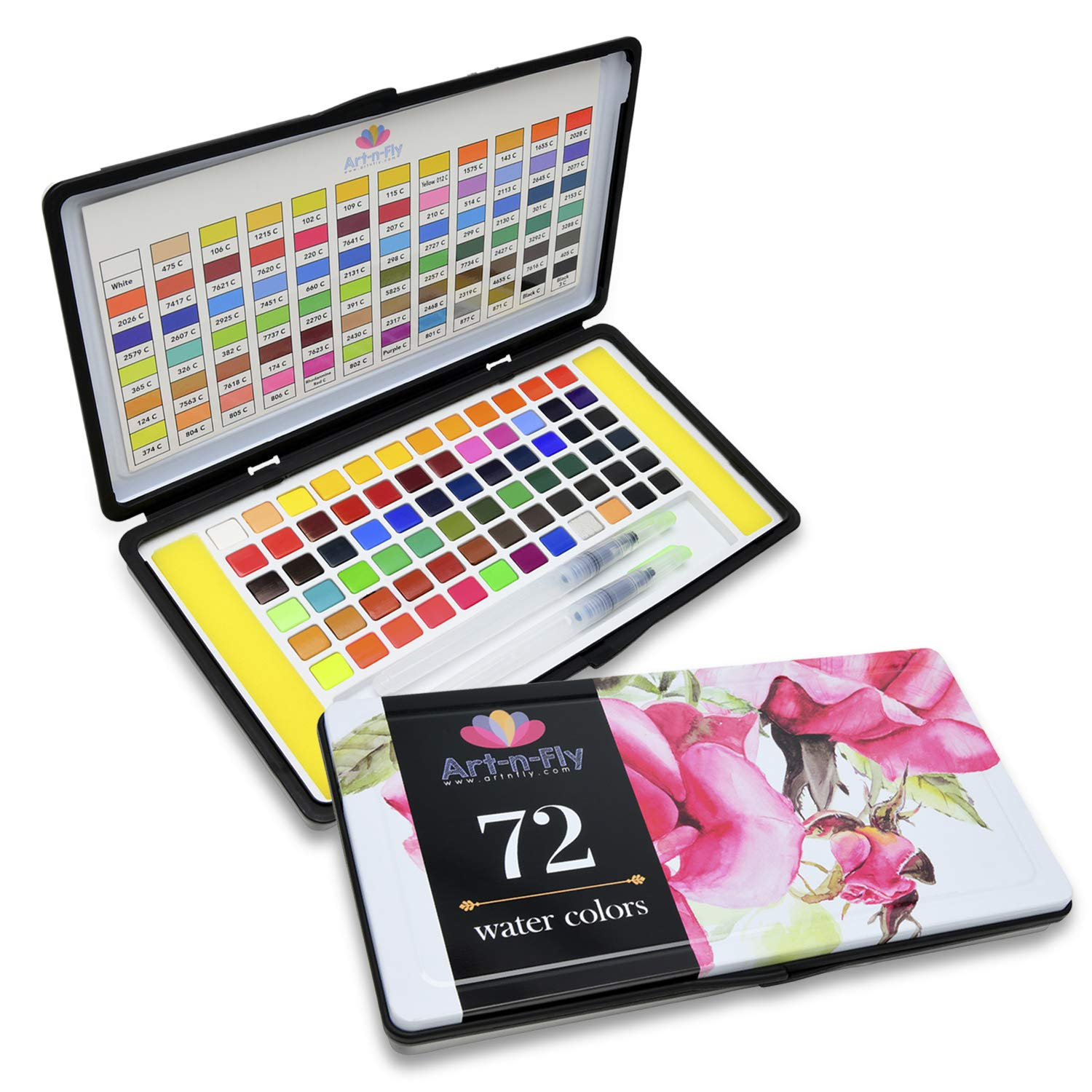 72 Watercolor Paint Set with 2 Water Brushes and 72 Vibrant Color Cakes in Tin Box. Includes Skin Tone, Metallic (Gold and Silver) and Pastel Colors - Perfect Gift for Artist