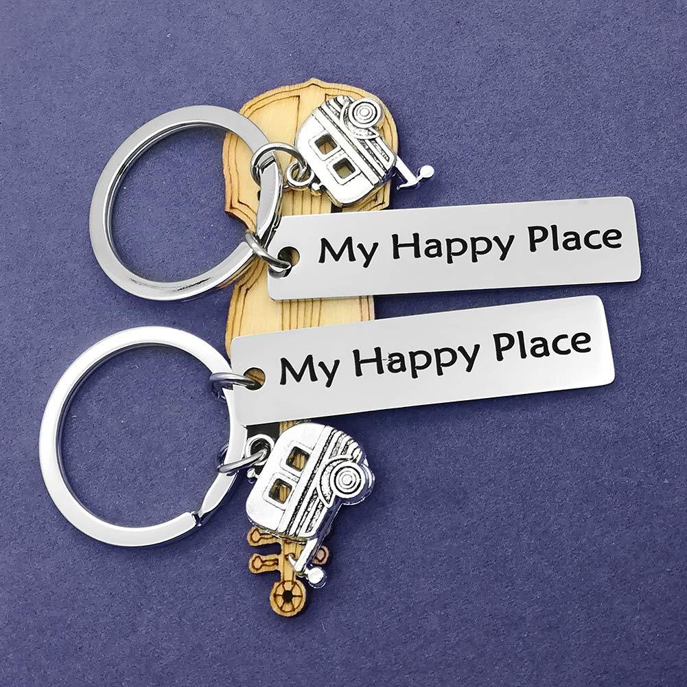 Amazon.com: My Happy Place Llavero con diseño de caravana ...
