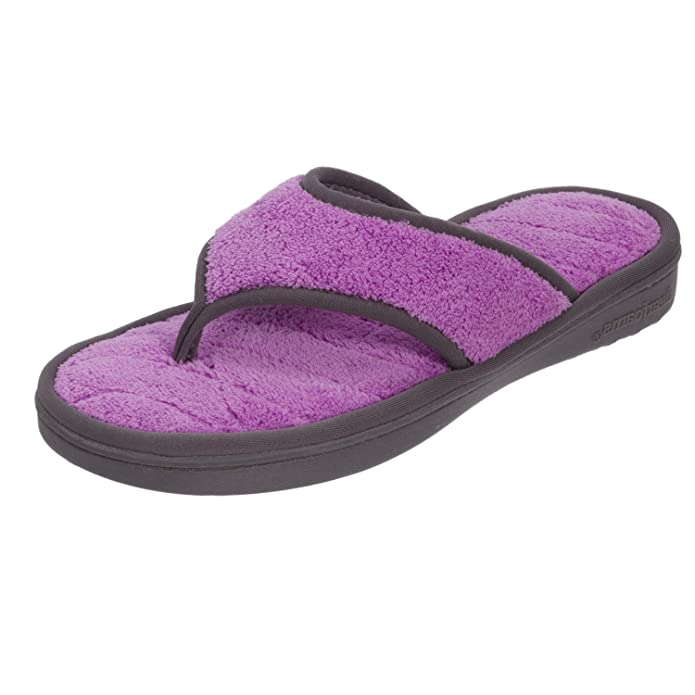 Dearfoams Microfiber Terry Flip Flop with Wave Quilt Sock Flip-Flops & House Slippers at amazon