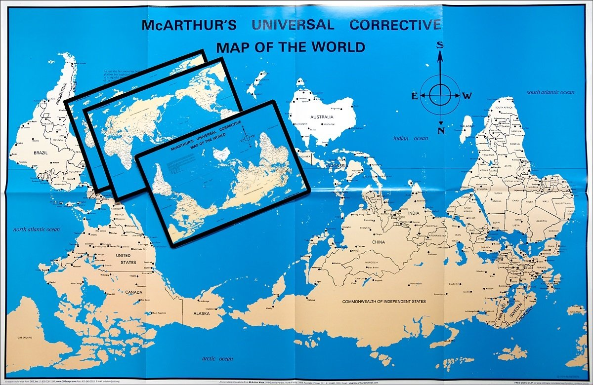 Mcarthur S Universal Corrective World Map Paper Folded Version
