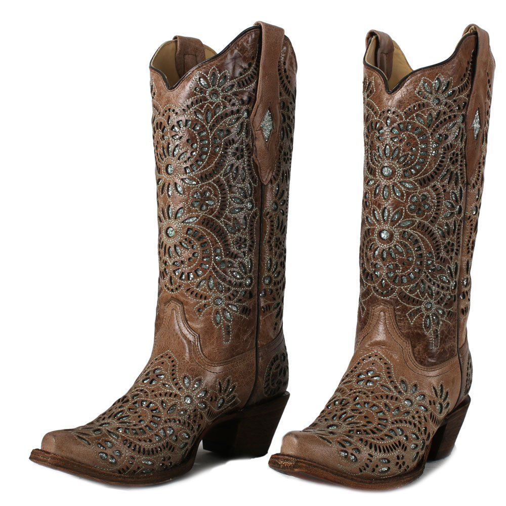 Corral Women's 13-inch Brown Glitter Inlay & Embroidery Snip Toe Pull-On Leather Boots - 8.5 B