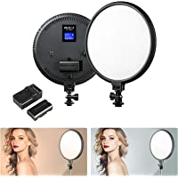 10 inches Round Bi-Color LED Video Light Panel, Dimmable LED Camera Light Lamp with Battery, Charger, 5600K~3300K, CRI 95 and LCD Display Screen for DSLR Camcorders Photo Studio Photography