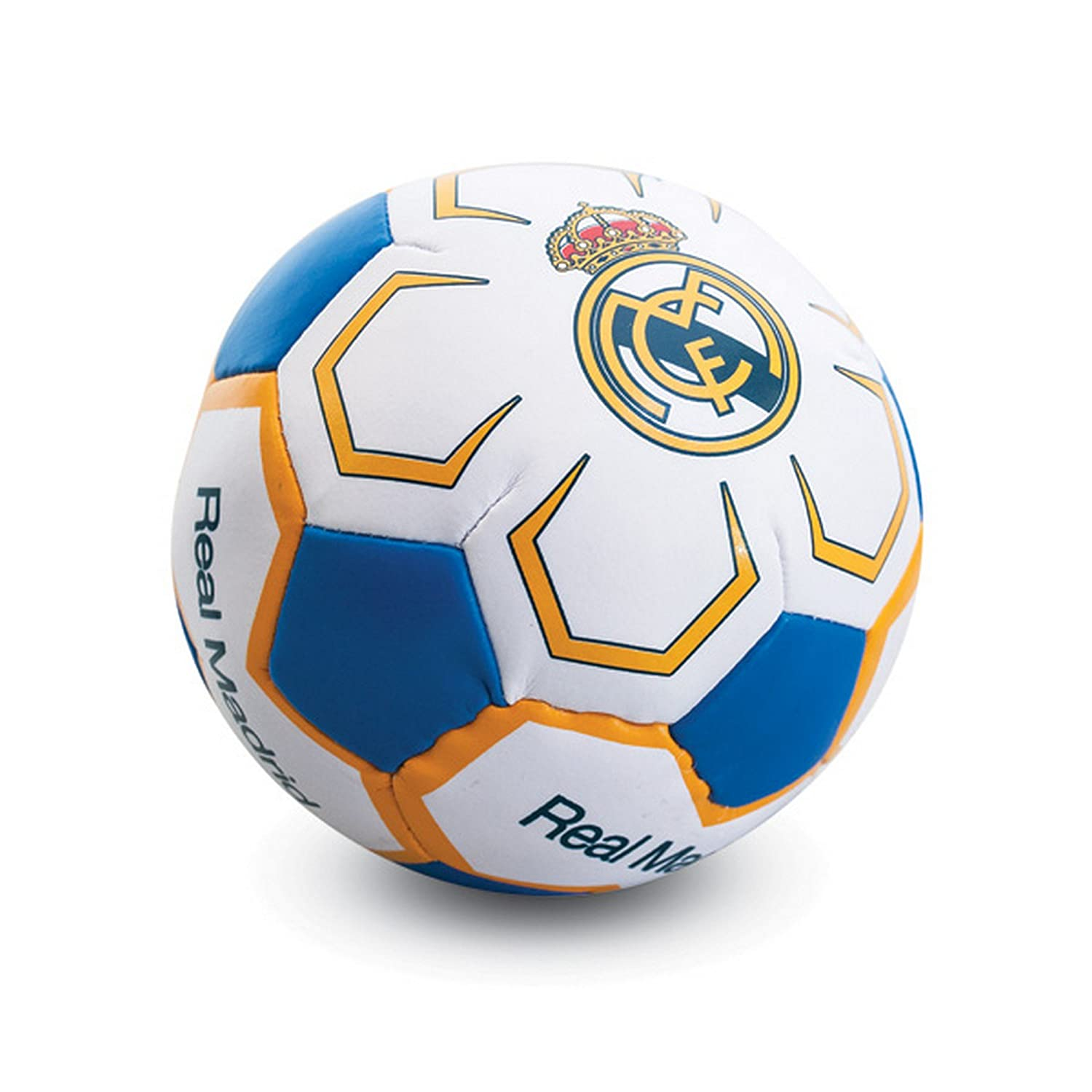 Real Madrid CF公式Crestデザイン4 in Miniソフトサッカーボール B074D83G4XWhite/Blue/Yellow One Size