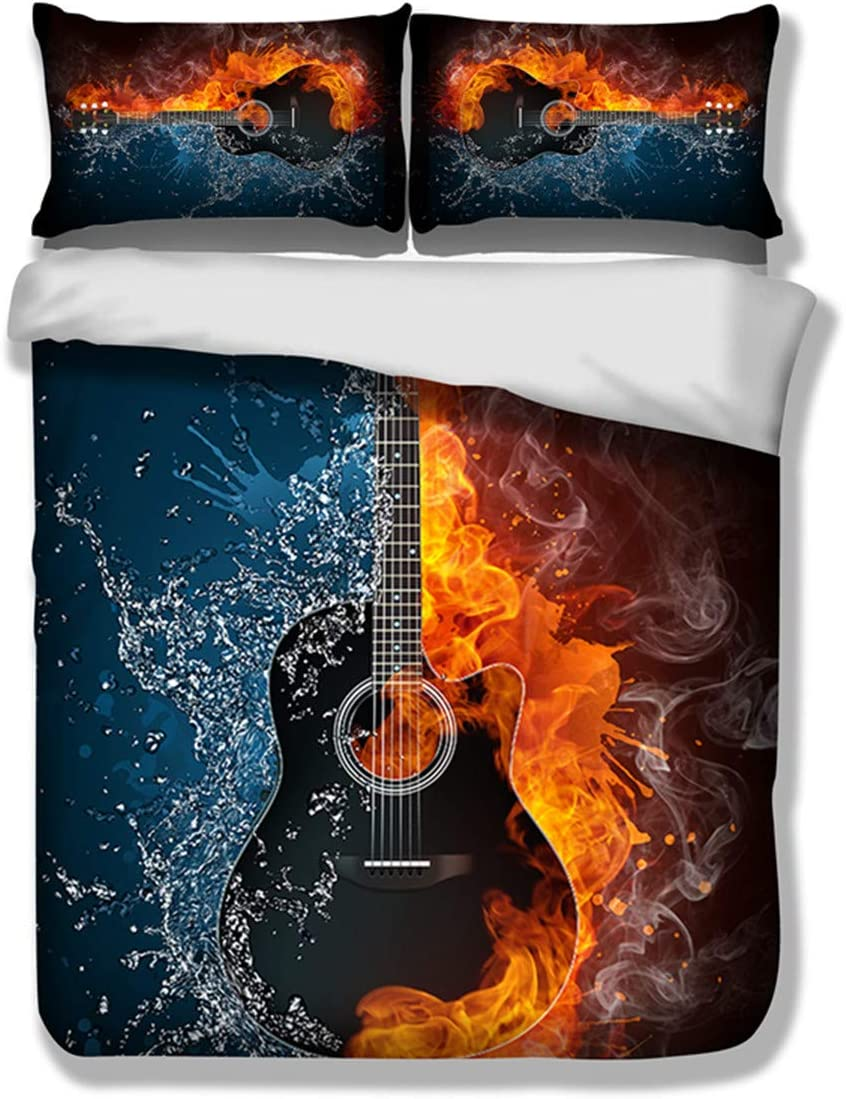 """3D Flame Electric Guitar Pattern Duvet Cover for Boys Girls Kids 3 Pieces Guitar Surrounded by Fire and Water Bedding Set with 2 Pillowcases Queen Size 90"""" X 90"""" for Music Enthusiast(Not Comforter)"""