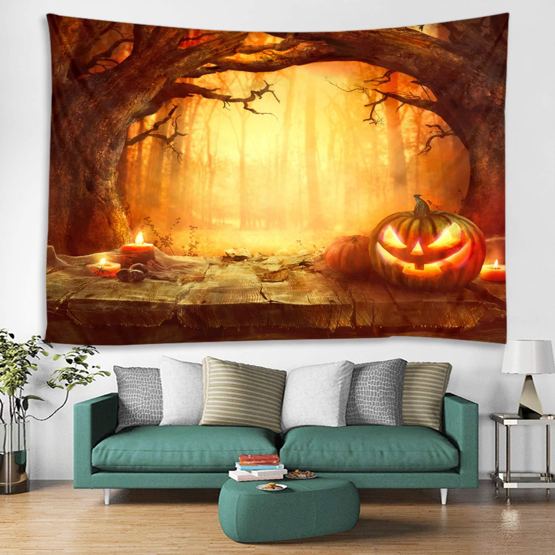 Amazon.com: Halloween Orange Grove Pumpkin Print Decorative Throw ...