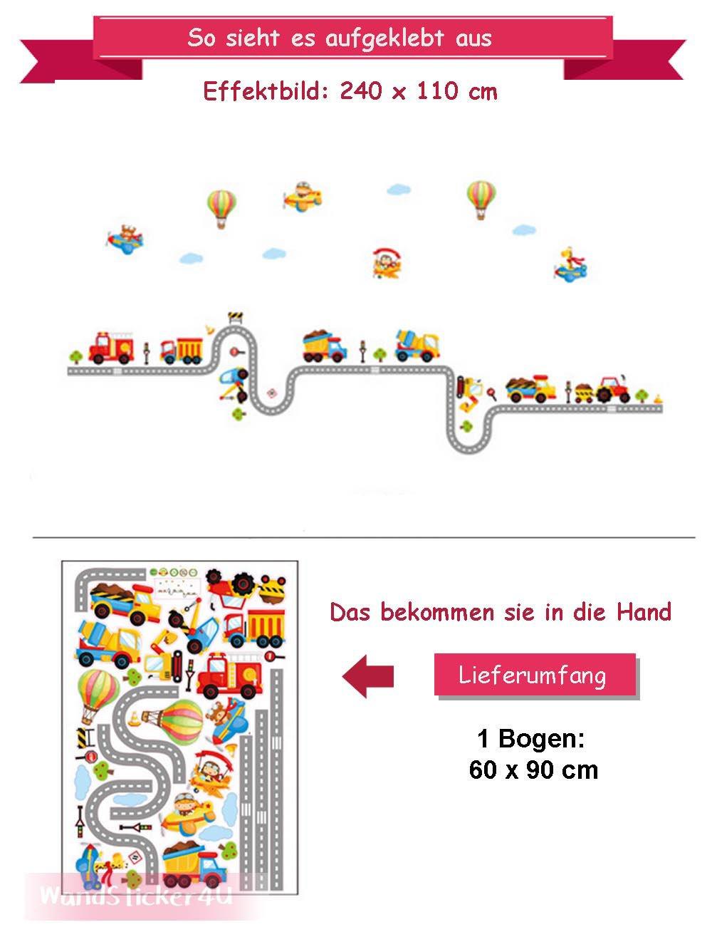 Wandsticker4u Wandtattootututu Strassenverkehr Ii 240x110 Cm