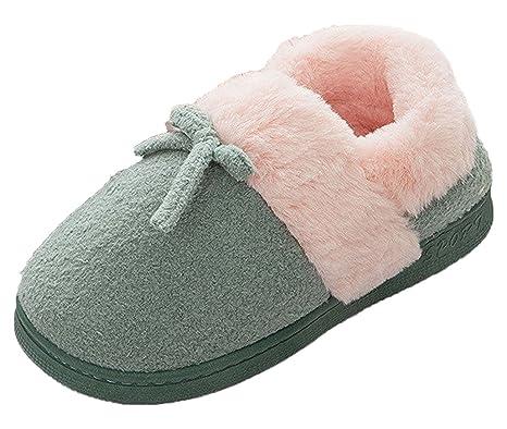 Femme Pantoufles En Coton Hiver Chaud Chaussons D'Intérieur Chaussures Avec Bowknot 7CxuB