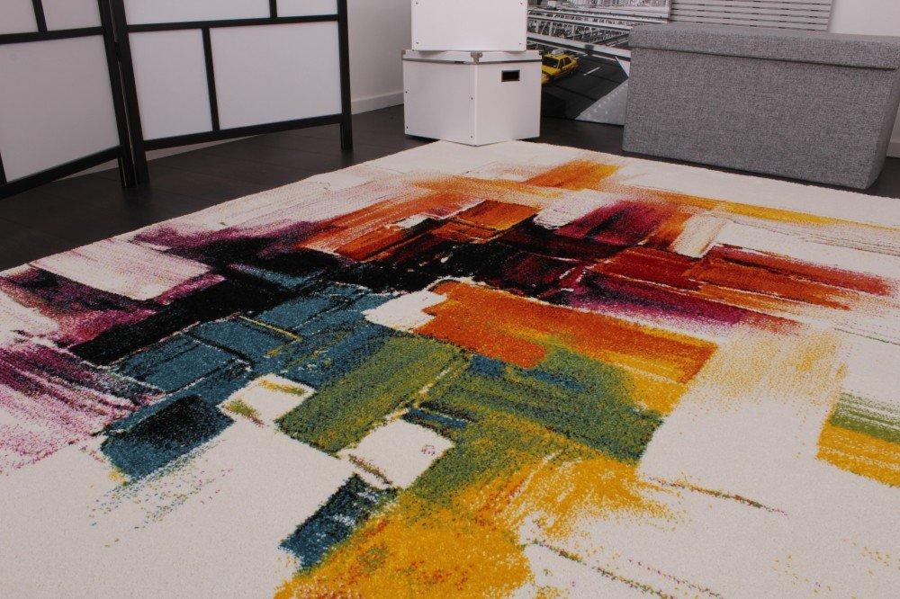 Rug Modern Canvas Look Designer Carpet In Cream Colourful Brushed