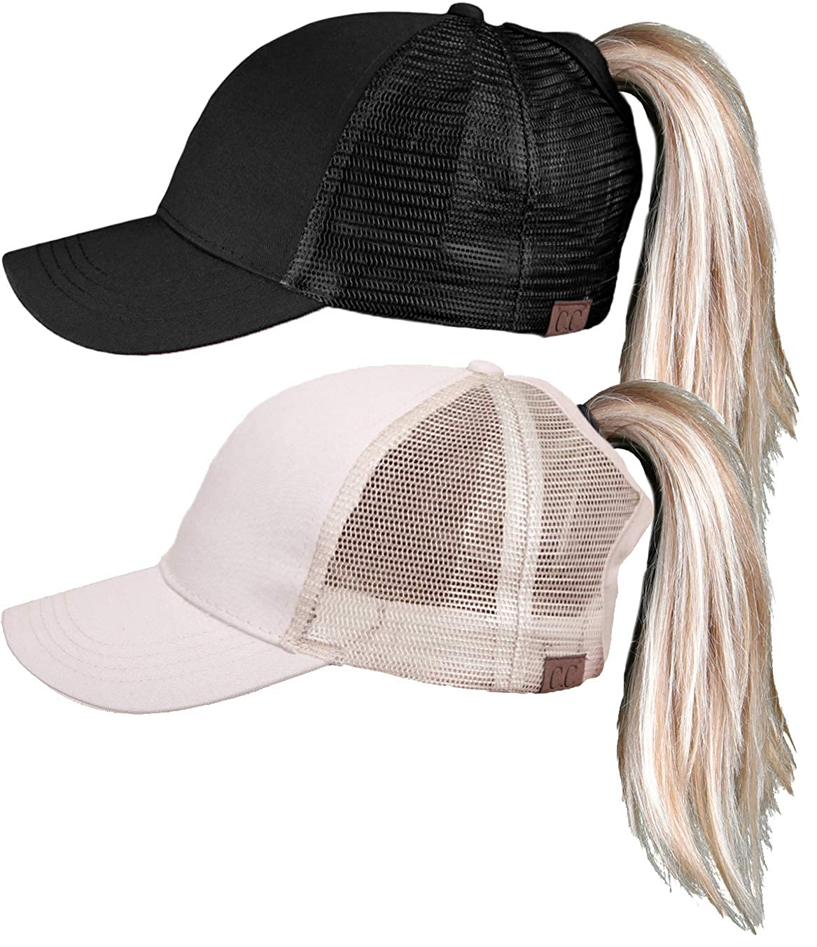 9068ee4a7e674 Funky Junque Womens Baseball Cap Adjustable High Ponytail Messy Bun Mesh  Trucker Hat (2 Pk - Black   Beige) at Amazon Women s Clothing store