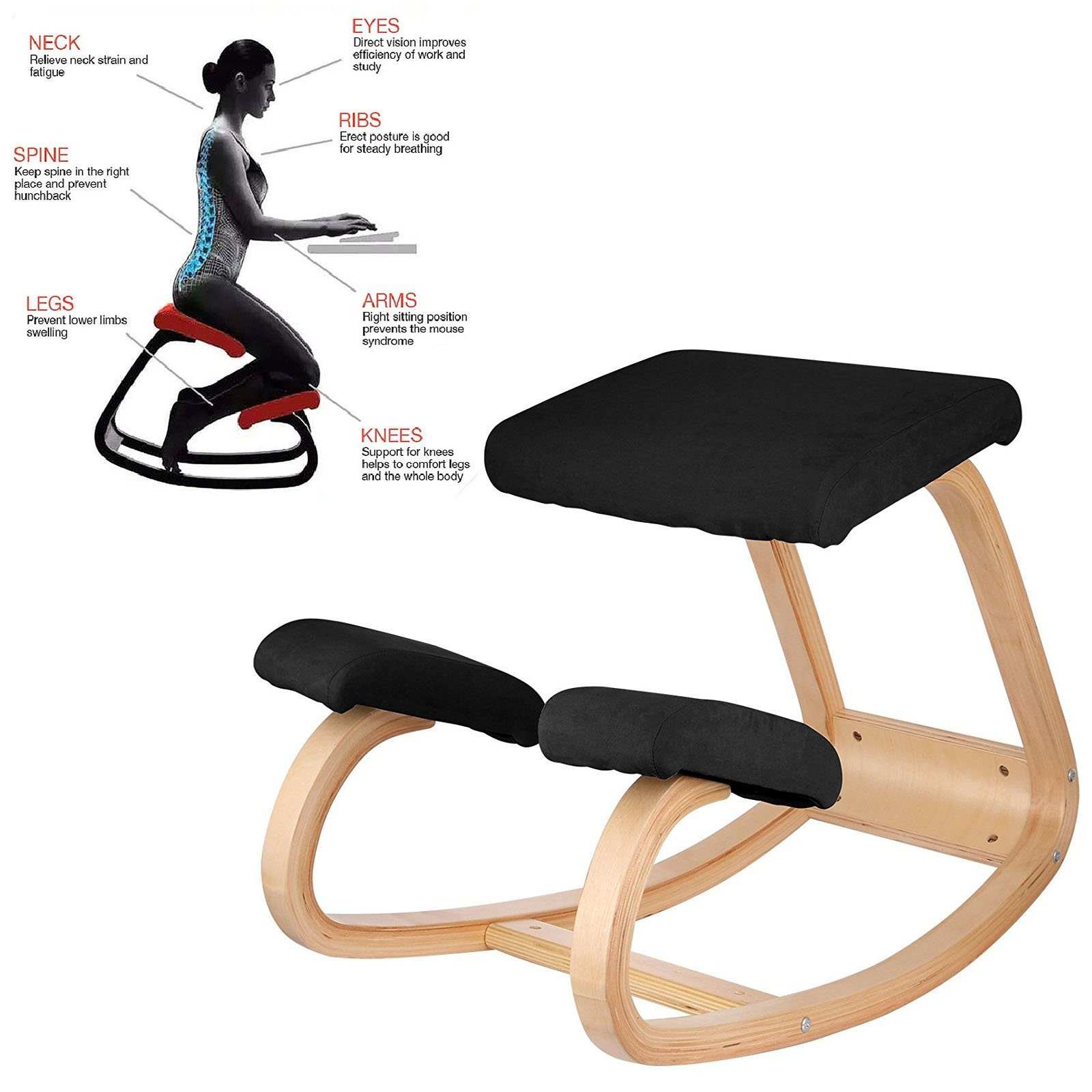 Superland Wooden Ergonomic Kneeling Chair Better Posture Kneeling Stool Bentwood Comfortable Ergonomic Office Chair Great Home Office or Desk Chair (OM-141 Black Kneeling Chair)