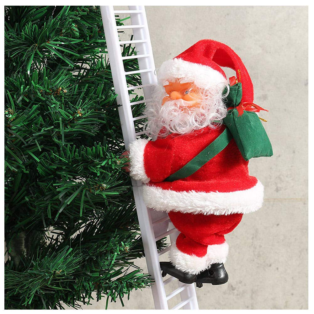 Klinkamz 1 Pcs Electric Climbing Ladder Santa Claus Christmas Figurine Ornament Decoration Gifts