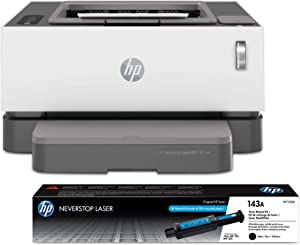HP Neverstop Laser Printer 1001nw | Wireless Laser with Cartridge-Free Monochrome-Toner-Tank (5HG80A) with-Toner Reload-Kit
