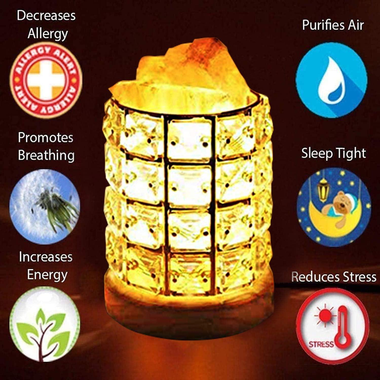 Himalayan Salt Lamp Pink Salt Rock Lamp Natural Himalayan Crystals Salt Lamps Table Night Lights Slat Rock Lamps with Light Dimmer Cord Bulb Metal Base Original Salt Lamp for Massage Yoga Bedroom