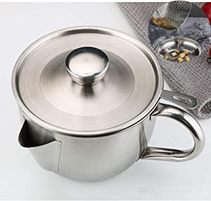 Bacon Grease Container With Strainer, Fat separator, Stainless Steel Gravy Oil Grease Soup Separator Strainer Bowl For Kitchen With Strainer And Lid For Storing Fats & Frying Oils, 1.1L