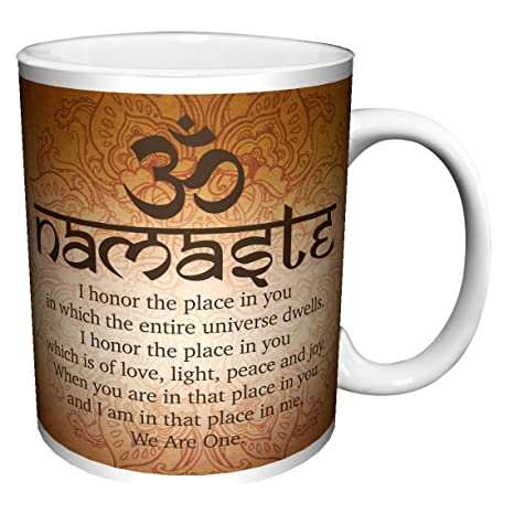 Namaste Buddhist Inspirational Motivational Spiritual Yoga Quote Decorative Ceramic Gift Coffee (Tea, Cocoa) 11 Oz. Mug