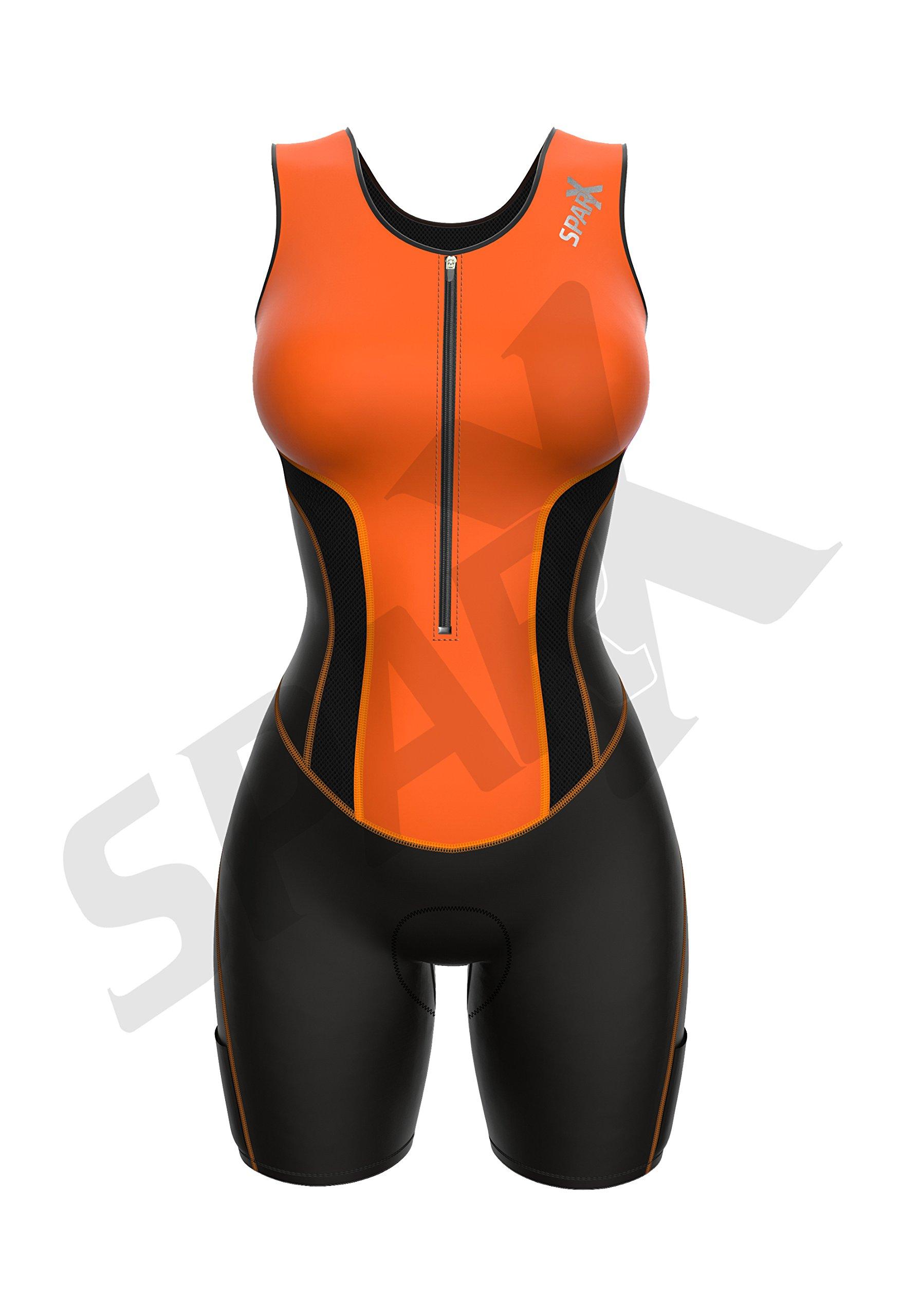 Sparx Women Triathlon Suit Tri Short Racing Cycling Swim Run (Small, Neon Orange) by Sparx Sports (Image #3)