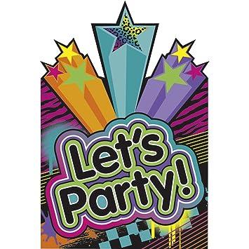 8 Stk. 80`s Party Einladungskarten Mit Umschlägen Geburtstag Einladungs Set  Mottoparty Einladungen 80er
