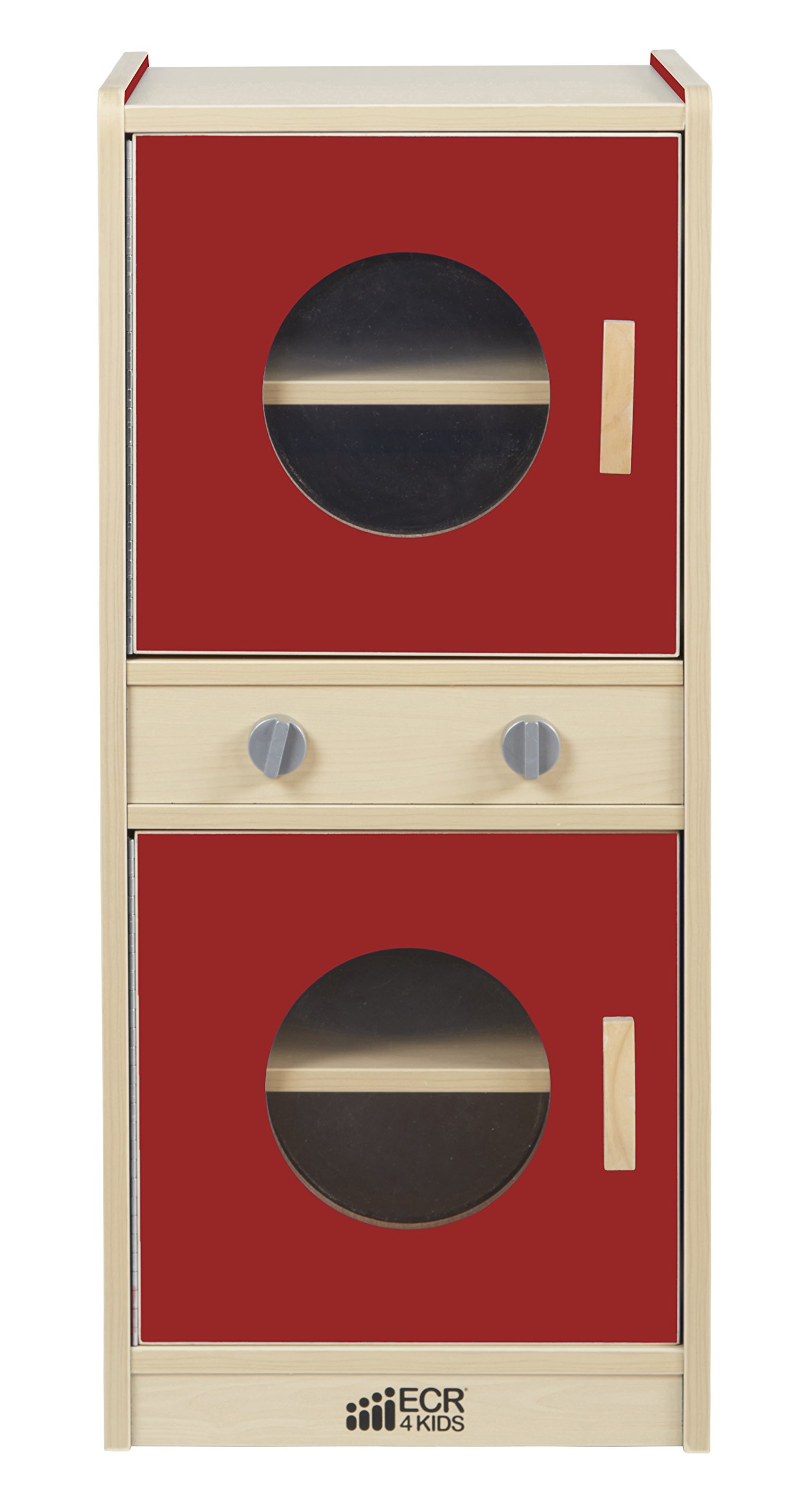 ECR4Kids Colorful Essentials Activity Washer and Dryer Playset, Red and Maple
