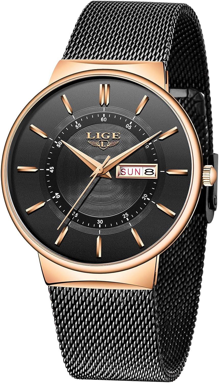 LIGE Relojes para Hombre Impermeable Moda Analógica Simple Quart Slim Relojes Minimalistas para Hombres Vestido Deportivo Reloj de Pulsera Informal con Banda de Acero Inoxidable Negro
