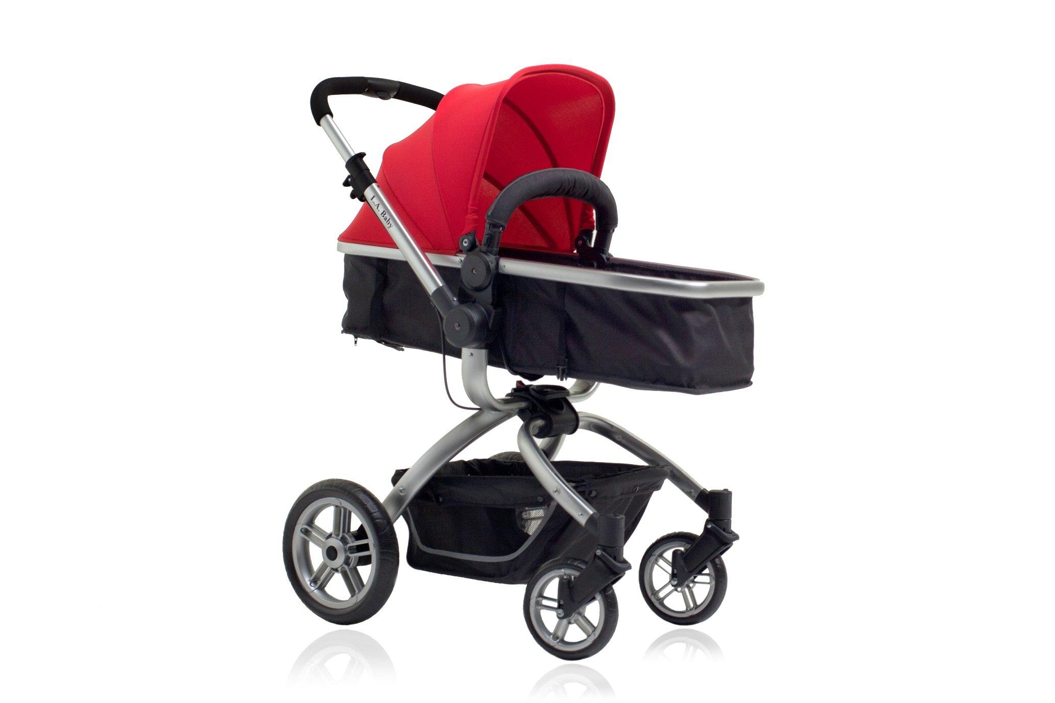 LA Baby Red Oak Standard Stroller, Red/Black
