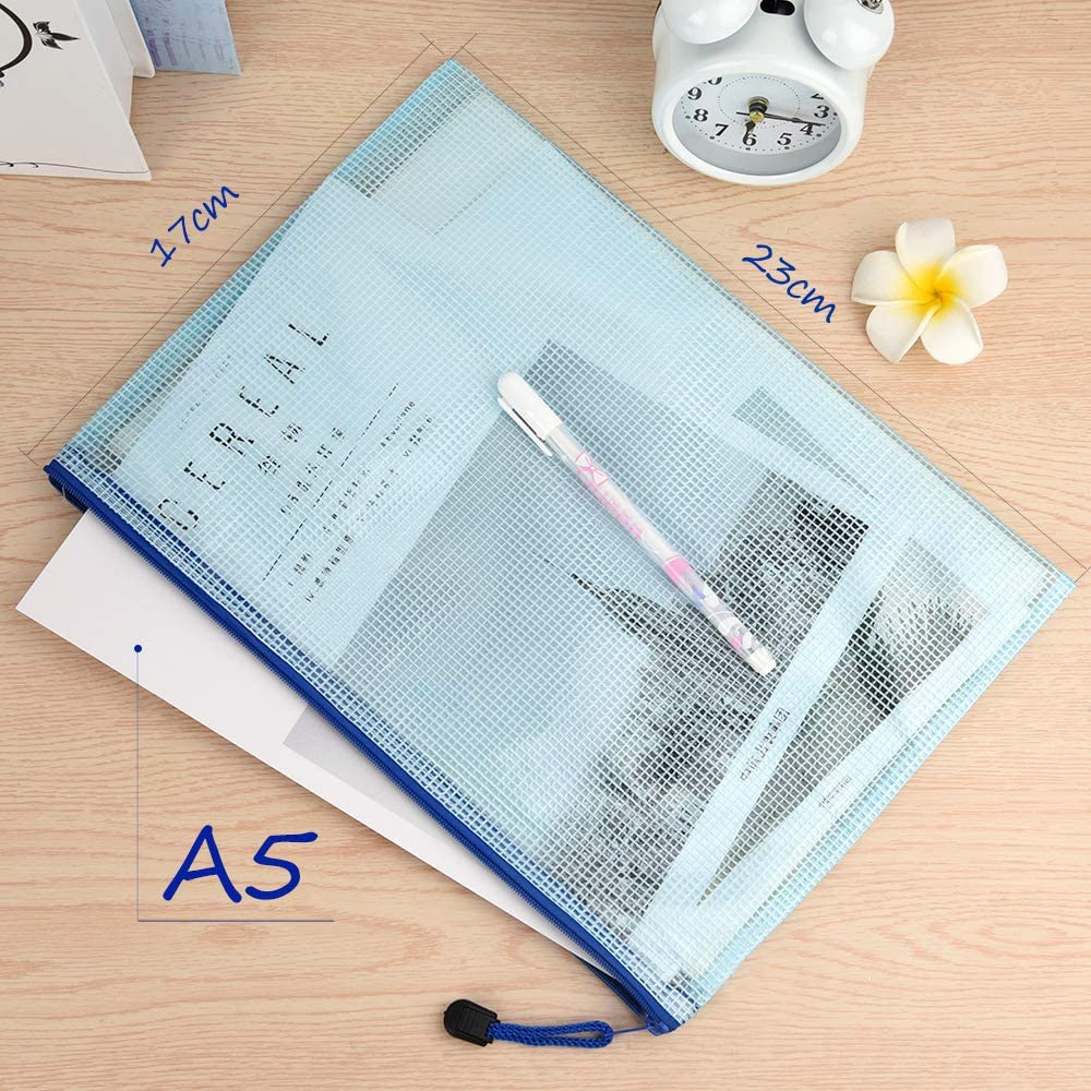 TUPARKA 21Pcs Dokumententasche A5 Zipper Wallet Taschen Kunststoff Mesh Dokumentenmappen f/ür Kosmetik B/ürobedarf Zubeh/ör Mischfarben