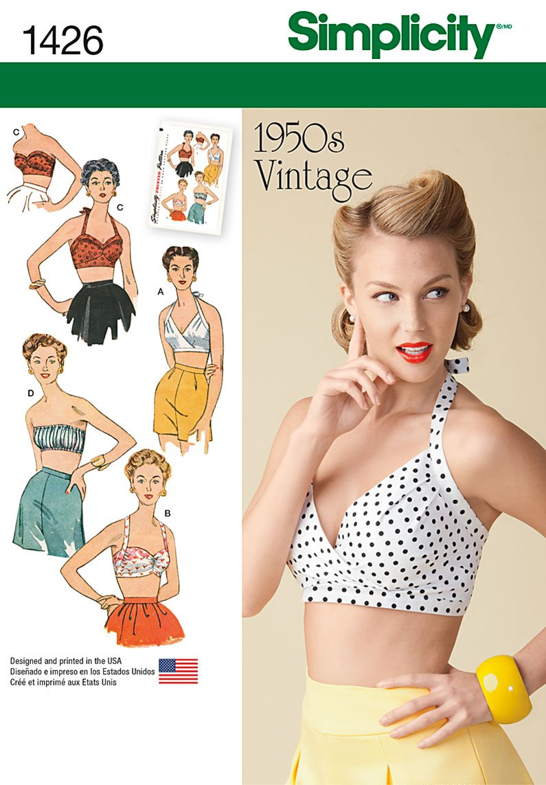 1950s Sewing Patterns | Swing and Wiggle Dresses, Skirts  Vintage 1950s Bra Tops D5 (4-6-8-10-12)                               $9.70 AT vintagedancer.com