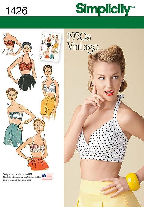 Simplicity Sewing Pattern 1426 - Misses\' Vintage 1950\'s Bra Tops ...