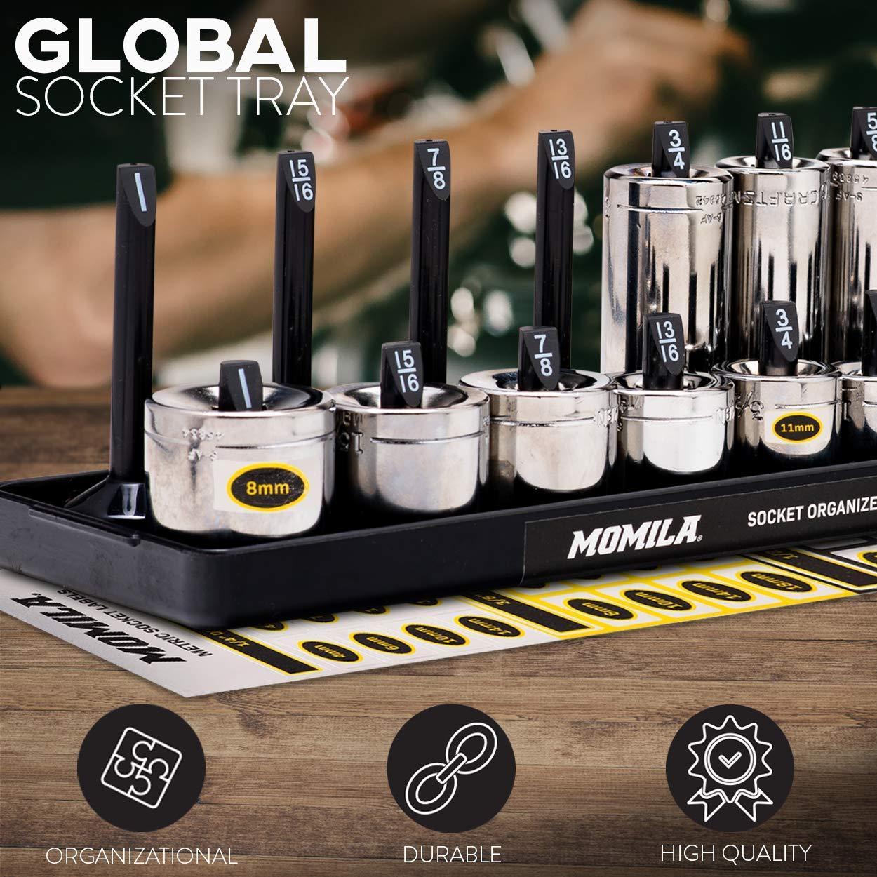 Socket Organizer Trays - 6 Piece Socket Tray Set Black SAE & Yellow Metric | 1/4-Inch, 3/8-Inch & 1/2-Inch Drive Socket Holder | Premium Quality Tool Organizers by Momila (Image #1)