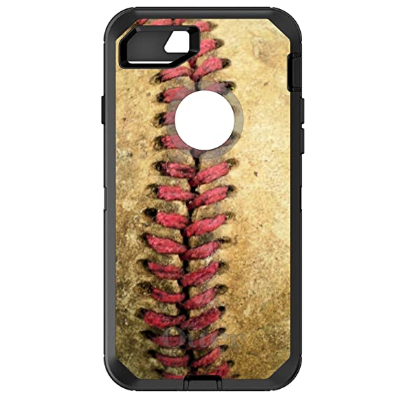 quality design 0c3fd 12d8d DistinctInk Case for iPhone 7 Plus / 8 Plus - OtterBox Defender Black  Custom Case - Old Baseball Stitch - Show Your Love of Baseball