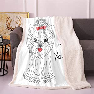 SeptSonne Yorkie Fleece Blanket,I Love My Yorkie Terrier with Its Tounge Out Yorkshire Terrier Flannel Bed Blankets,Fashion Design Fuzzy Blanket(60in x 80in,Black White Red)